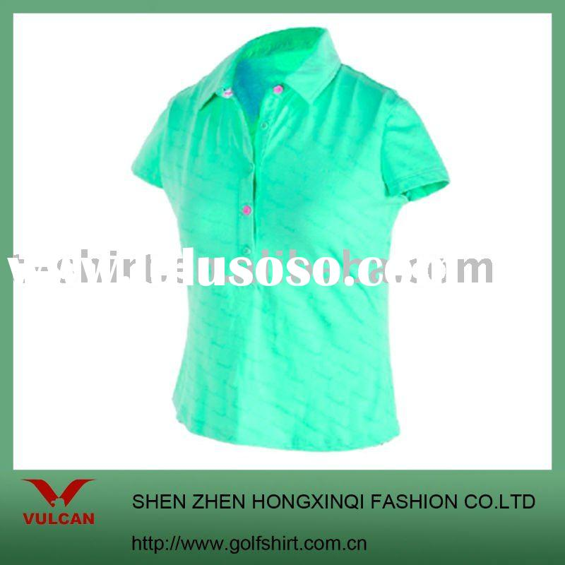 ladies' polo shirt with short sleeve and solid color