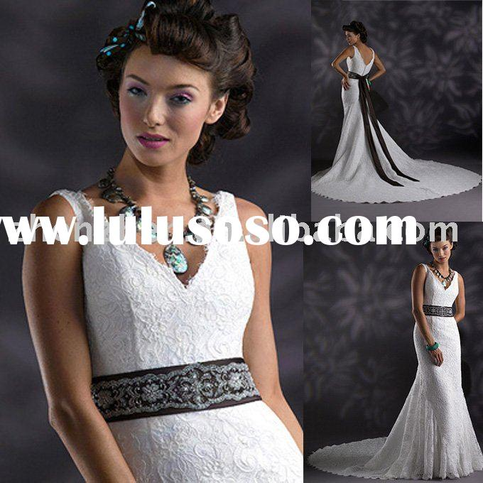 short sleeve white satin and lace bridal dress WD906