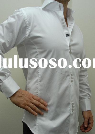 slim fit men's dress shirts white