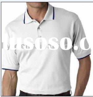 white cotton polo shirt with blue stripe on sleeve and collar