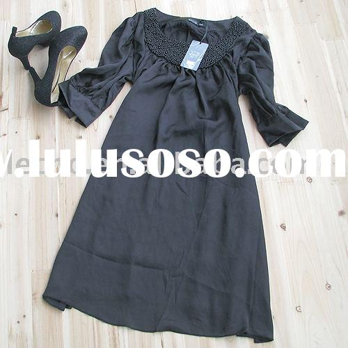 woman's dress  ( long sleeve  , black , party dress , evening dress  )