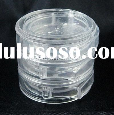 Clear Round plastic Beads Containers With Lid, 3.9cm in diameter, single layer: 1.2cm thick.(C061Y)