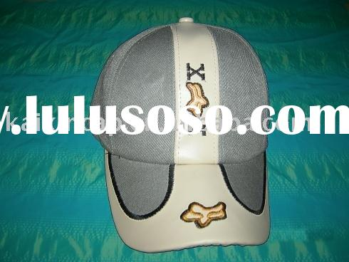 baseball cap customized logo embroidery fox with leather fabric