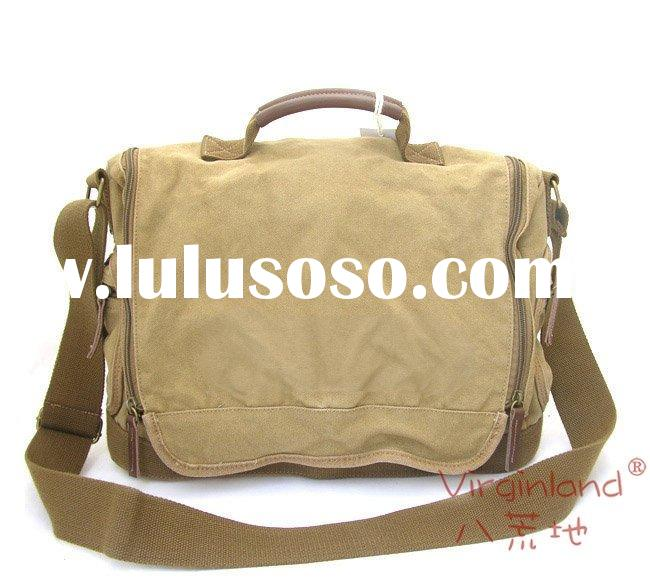 1212 khaki shoulder messenger bag leisure bag thick canvas bag