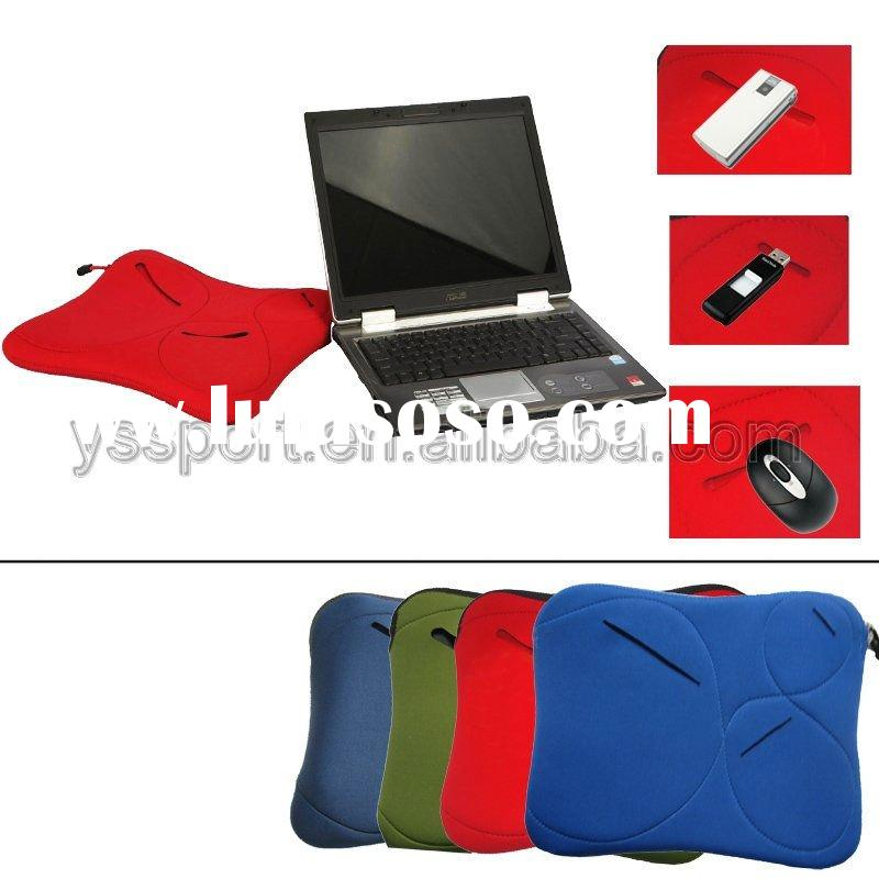 14 neoprene laptop sleeve/computer bag/notebook case,with zip & outside pocket,red