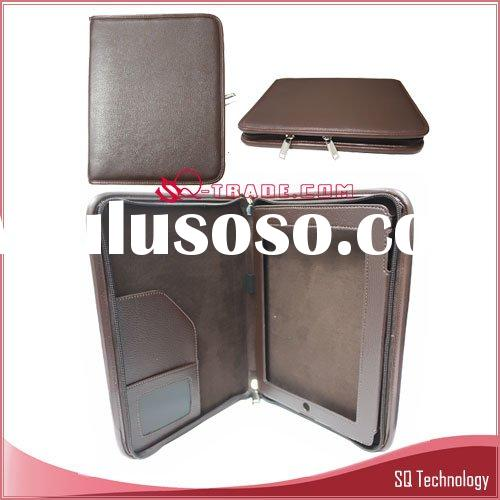 Laptop Notebook Case Leather Case for iPad with Slide Fastener brown colour