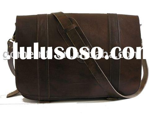 Modern design brown messenger leather laptop bag