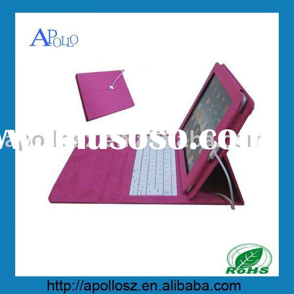 New Pink Leather Case with Keyboard for Apple Ipad