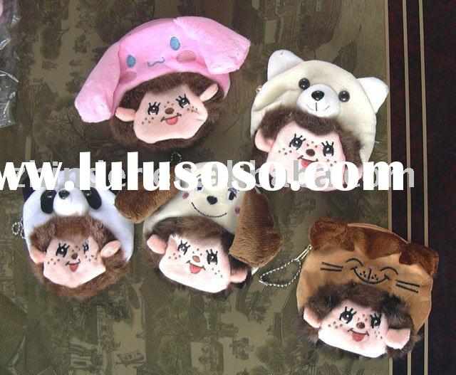 Plush Monchichi money purse,soft cartoon animals coin bag,plush candy pouch, stuffed animals coin po