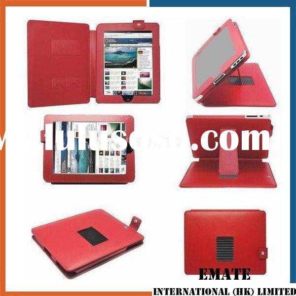 Red  Notebook Laptop Leather Bag with Standing
