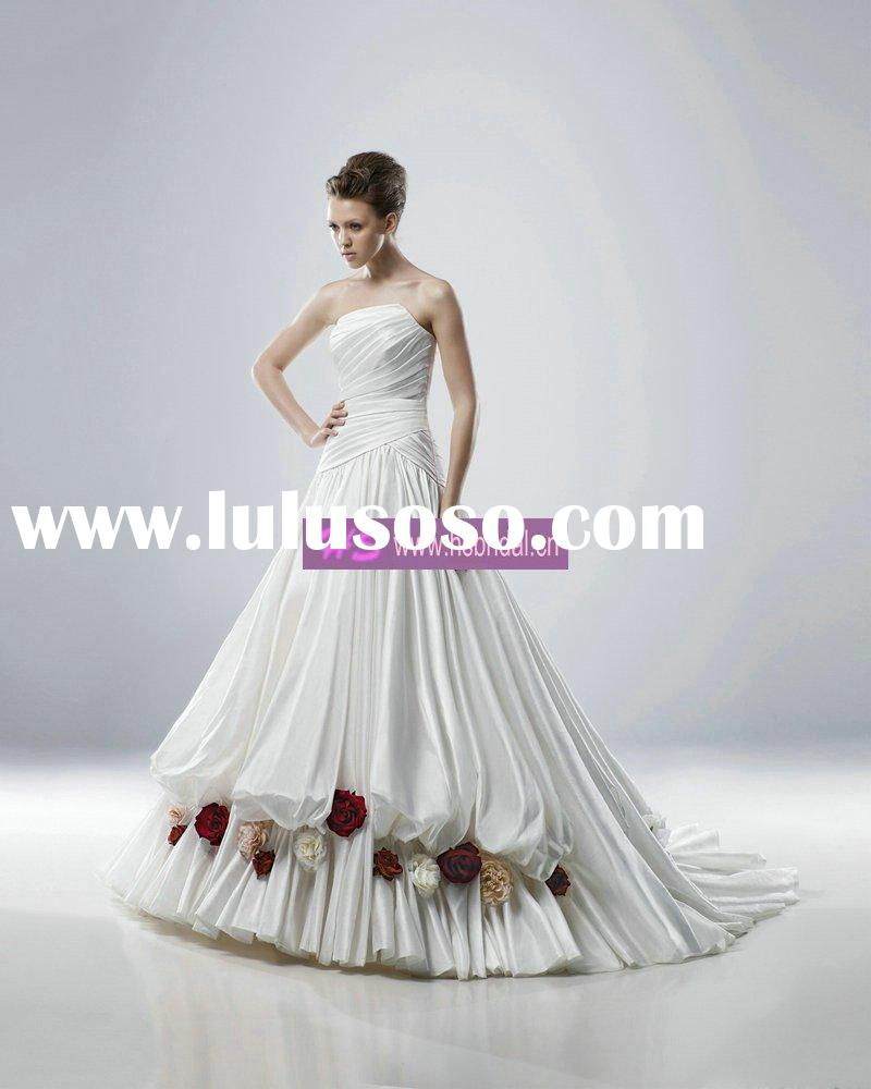Strapless Cathedral Train Satin Bride Wedding Gown