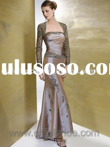 XL-09229 brown lace evening gown the hollow long-sleeved and embroidery evening dress
