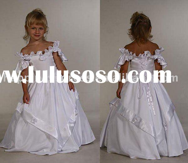 new style beautiful lovely cap sleeve satin flower girl gown children dressF271