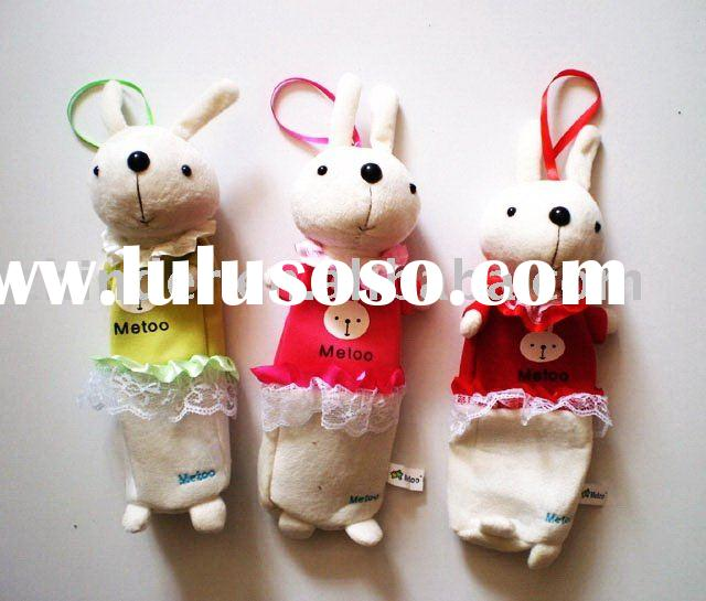 stuffed rabbit pencil bag, soft rabbit pencil case,stuffed rabbit candy pouch,plush bunny cosmetic p