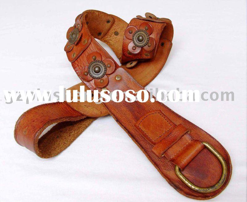 2010 newest ladies brown genuine leather wide belt