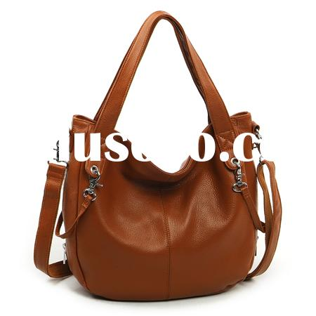 Genuine leather, apricot lady bag, dual use of shoulder bag and strap bag