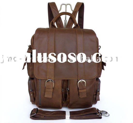 Vintage Tan Leather Style Men's Brown Handbag Messenger Bag Backpack