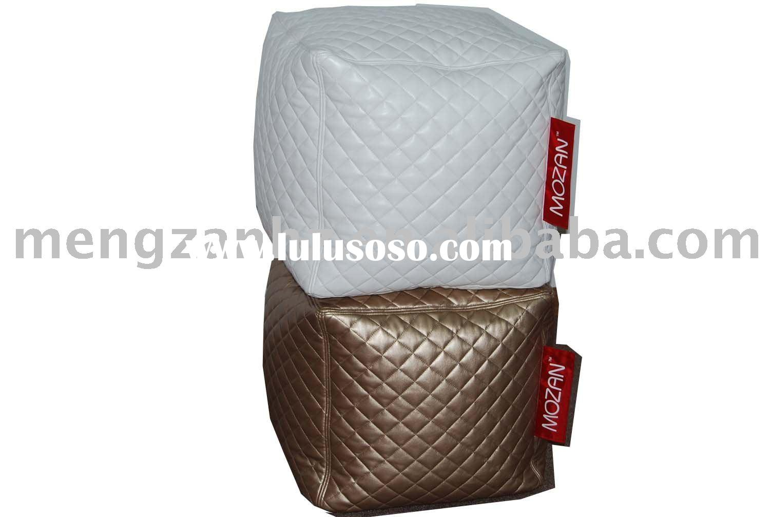 bean bag pouf in white color, PU leather