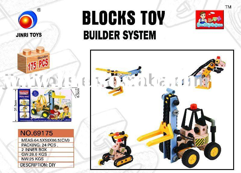 2011 Kids DIY 3D Puzzle Toys Wooden Building Block Brick Set,69175