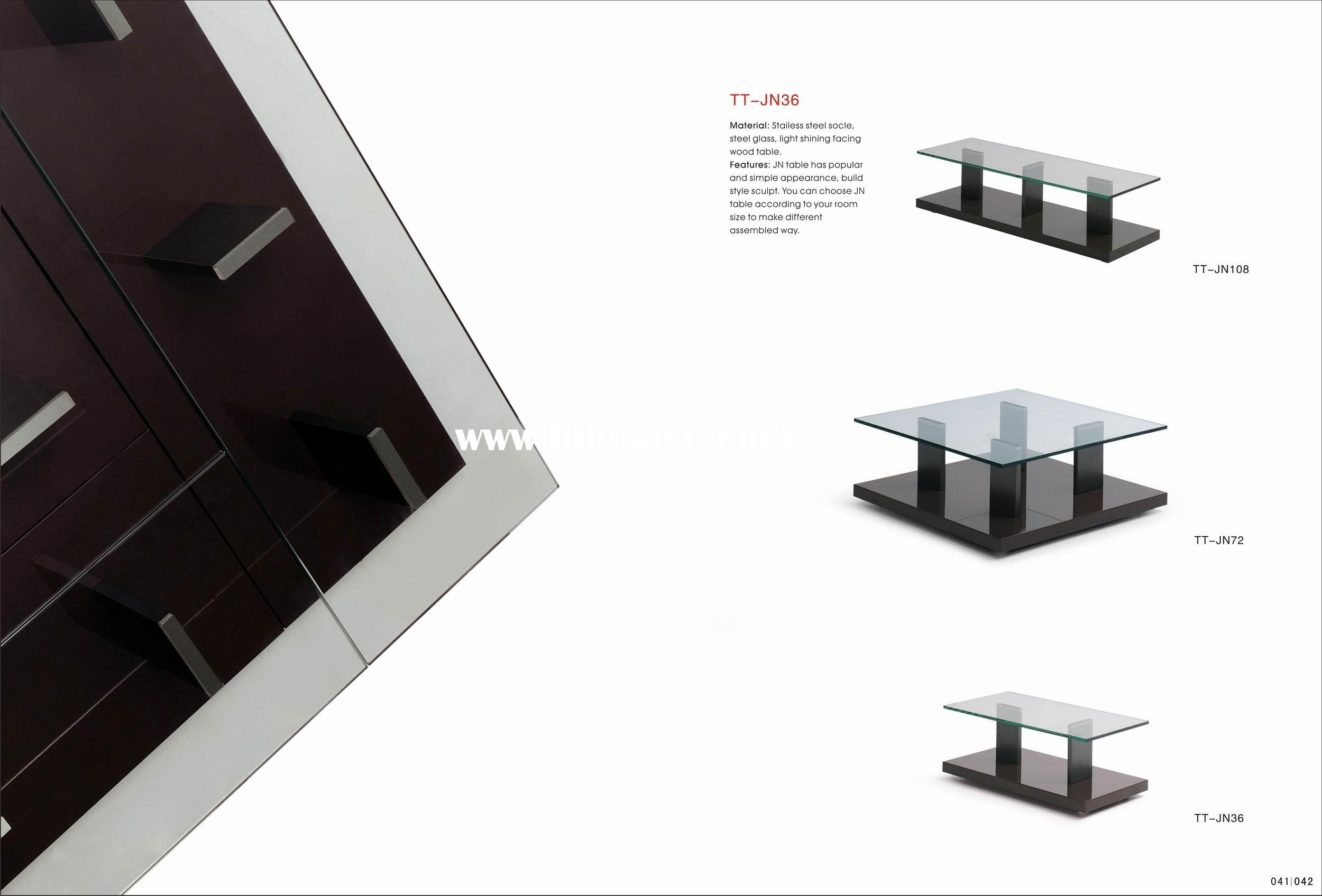 stainless steel socle tempered glass top coffee table DST-TT-JN36