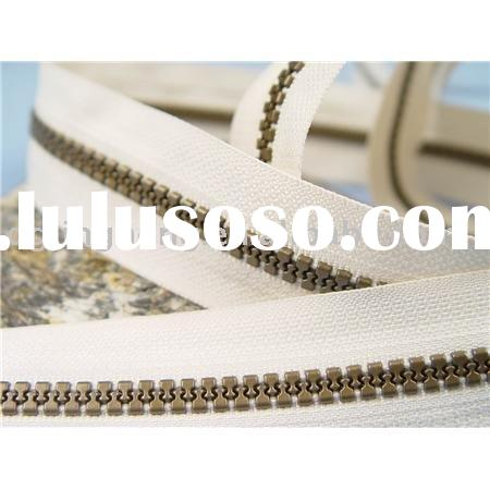 5# long chain plastic zipper with antique brass teeth