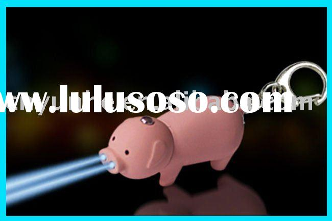 Hot-selling pig LED Key chains key ring tag(bag bottle key tags holder)(promotional giveaway freebie