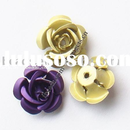aluminum flower metal beads for jewelry accessory