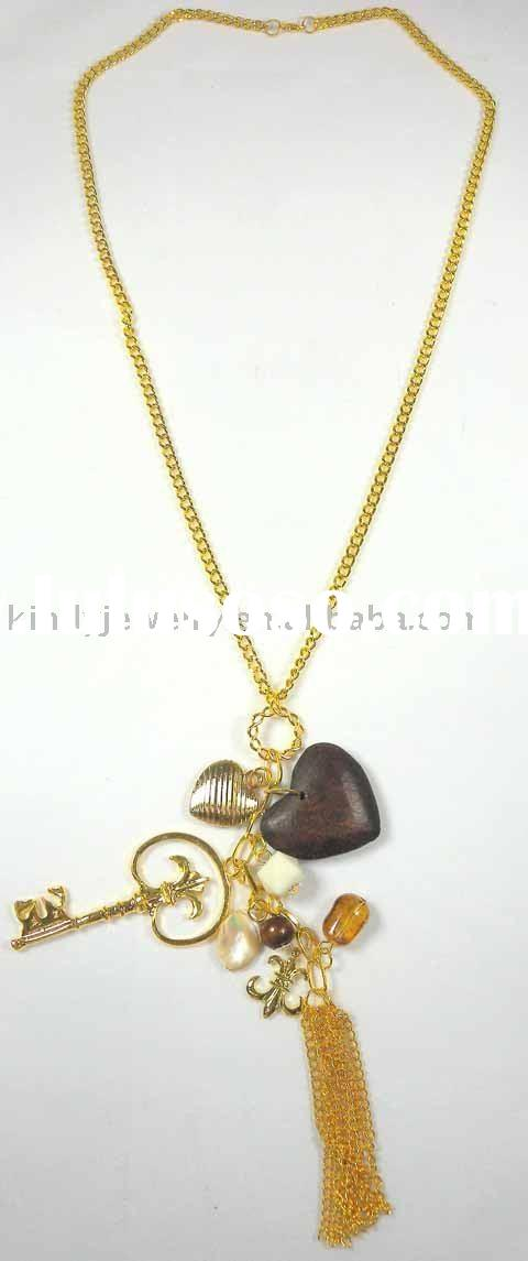 fashion jewelry, metal chain charm necklace