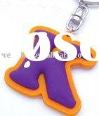 letter shape soft pvc key chain