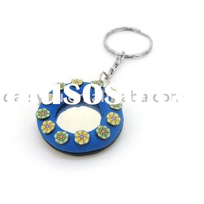wholesale promotion polymer clay mirror key chains and key rings