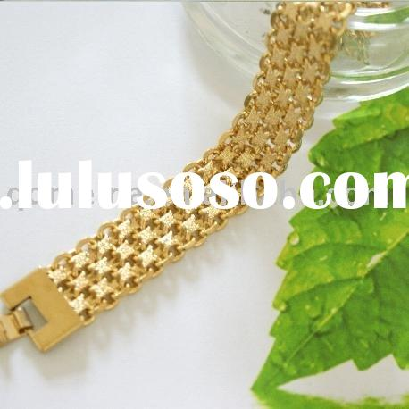 Hot design men's wide metal copper alloy chain bracelets with 24k gold plating