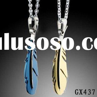 Stainless steel jewelry pendant Necklace chains wholesale feather couple pendant never fade OEM  GX4