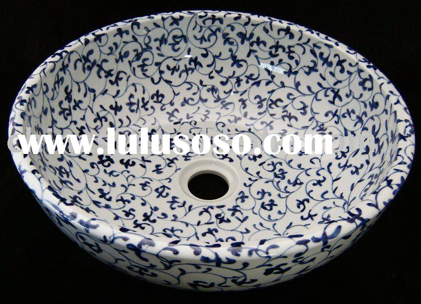 Blue and White Floral Ceramic Bathroom Sink WRYBF209
