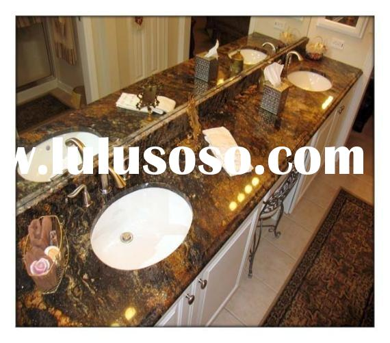 Ceramic Sink with Granite Vanity Tops and Antique Brass Faucets