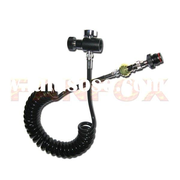 Paintball Equipment Remote Hose With Quick Disconnect & Slide Check and 1500PSI Gauge