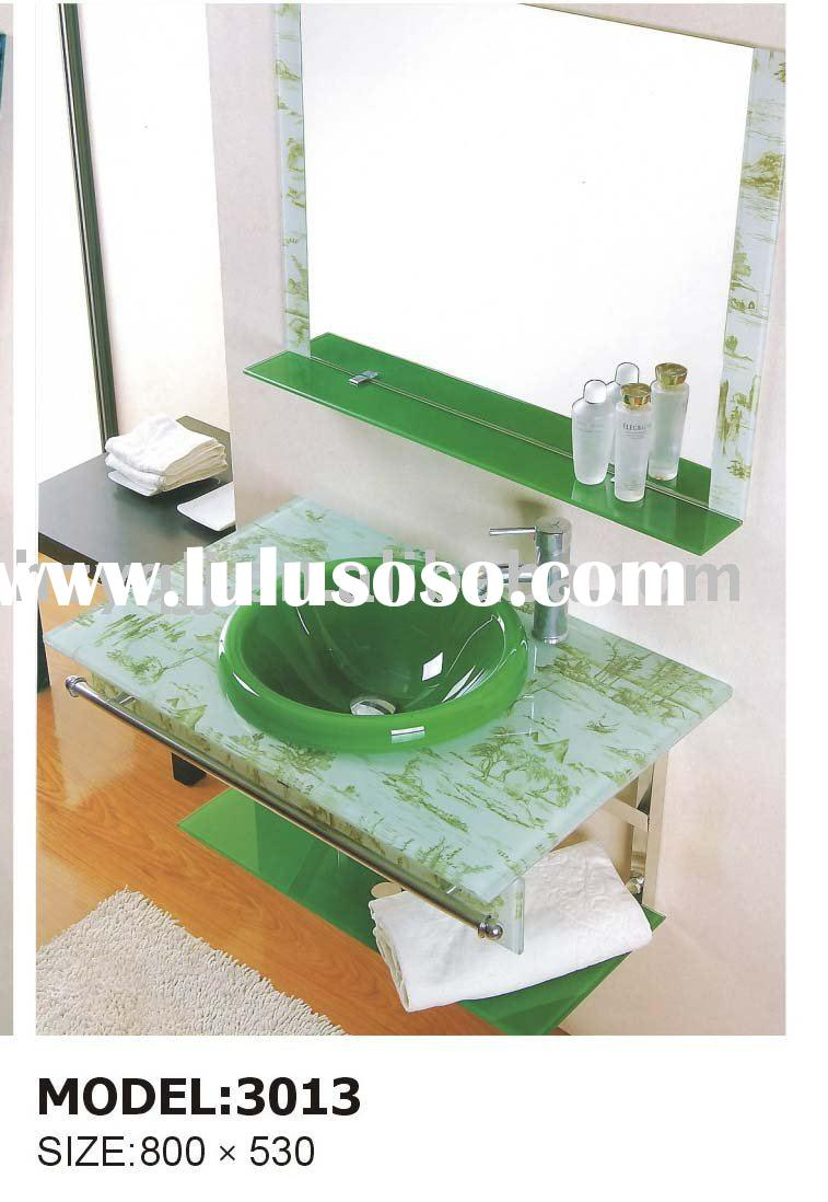 Tempered glass basin/ glass vanity/ glass sink