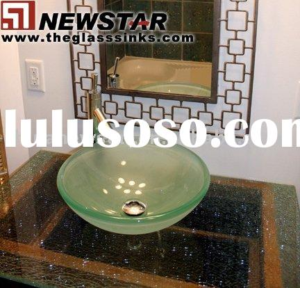 Waterfall sinks,glass bathroom basins,sink with faucet,glass basins,glass sinks