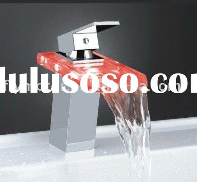 colorful glass sink led faucet, kitchen wash basin water tap