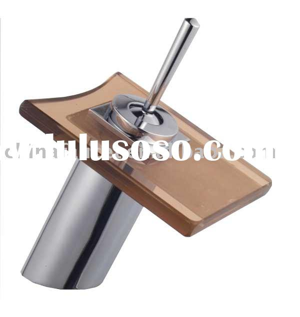 glass waterfall basin faucet (glass basin tap,square glass faucet)