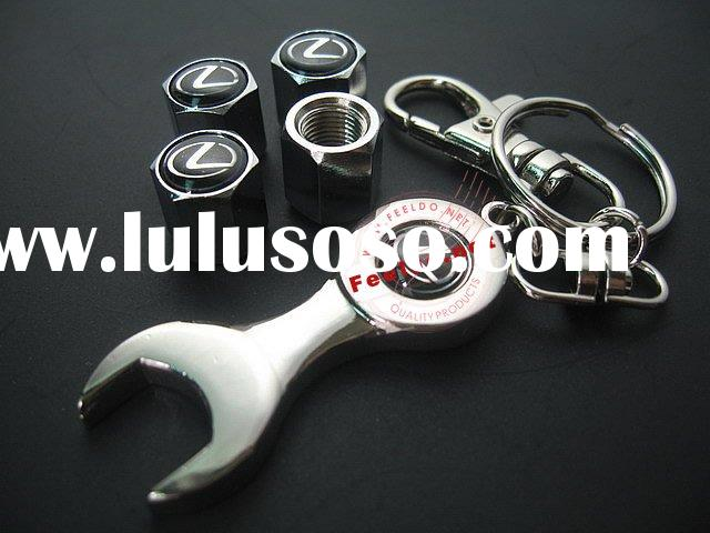 Auto Tyre Valve Cap Cover 4pcs + wrench key chain for (Lexus)