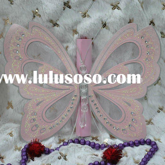 Classical invitation card with scroll card holding great butterfly in a box-T192