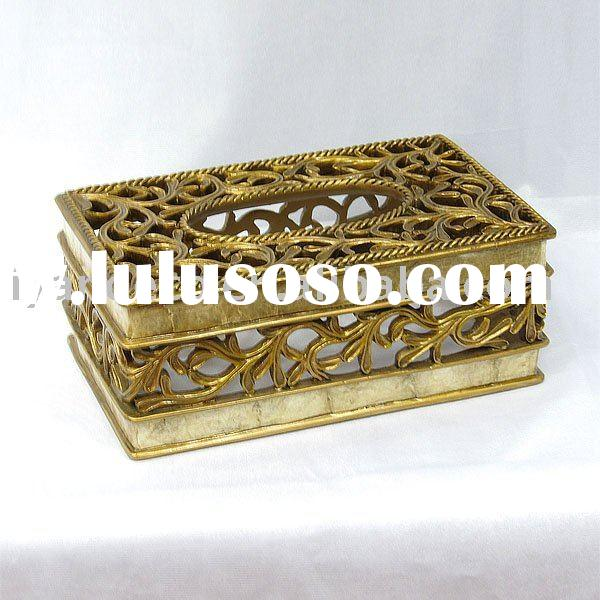 Golden Decorative Shell Surface Resin Craft Tissue Paper Box