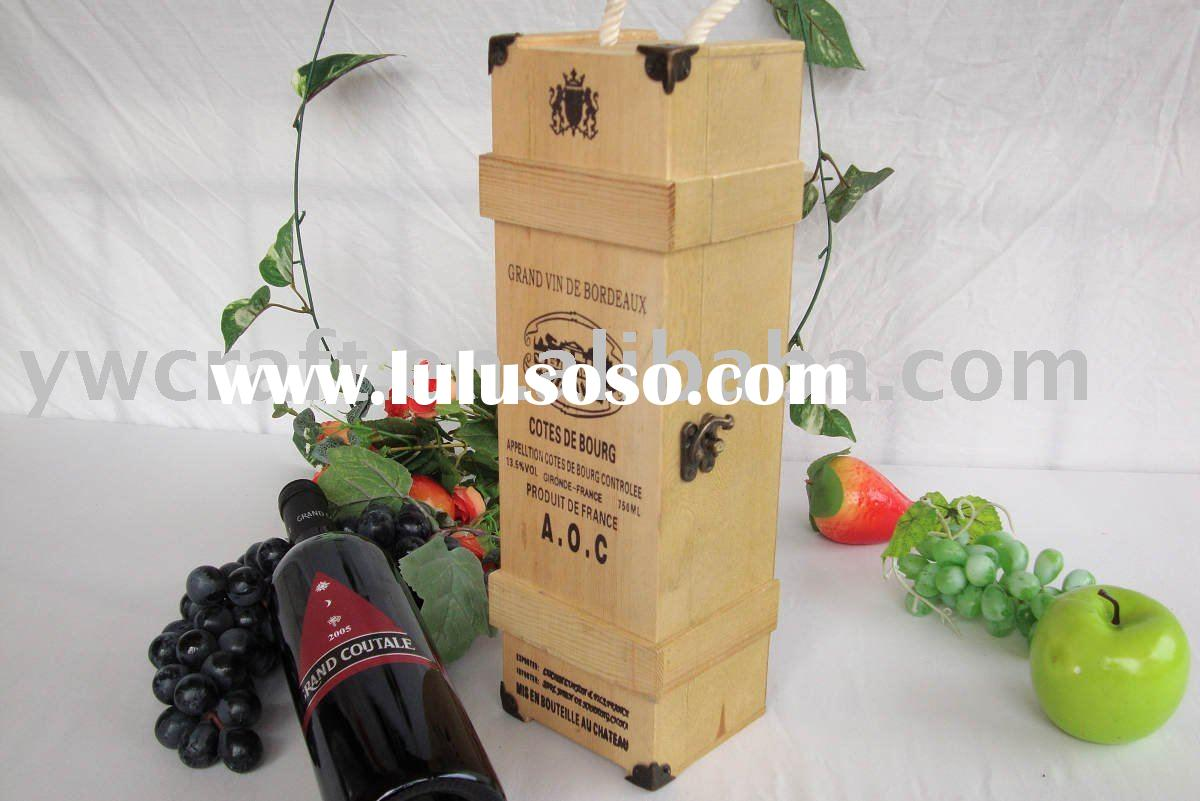 One bottle nature color wooden wine box gift boxes