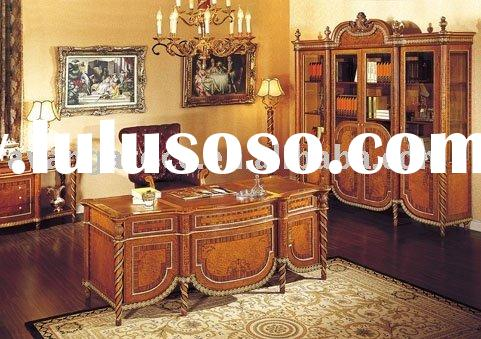 Royal style wooden home/hotel office furniture set(office table,office chair,bookcase)