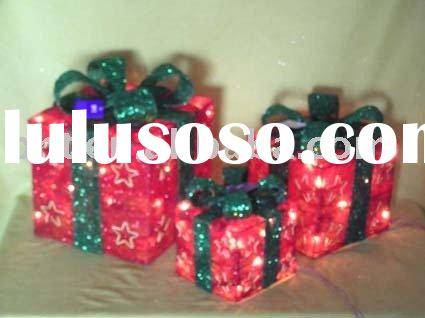 Sisal christmas gift box with lights