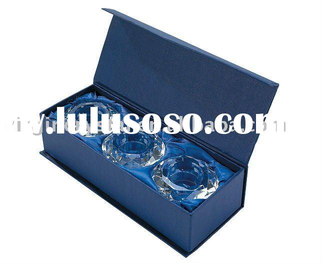 Wedding Crystal Diamond Shaped Candle Holders In Gift Box Favors