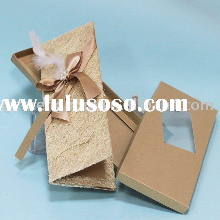 chic unique handmade wedding invitation card with nice box T159