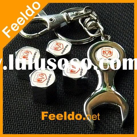 wholesales Car tire valve caps 4pcs + wrench key chain for Dodge
