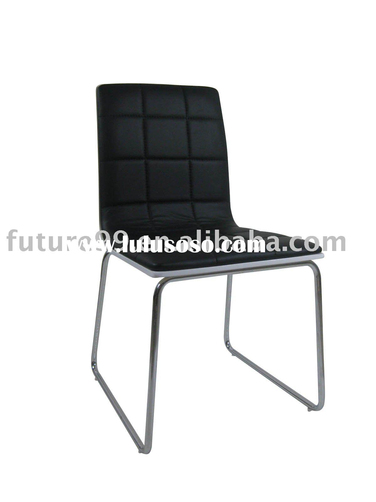 black pu leather bent wood stitching metal chromed dining chairs