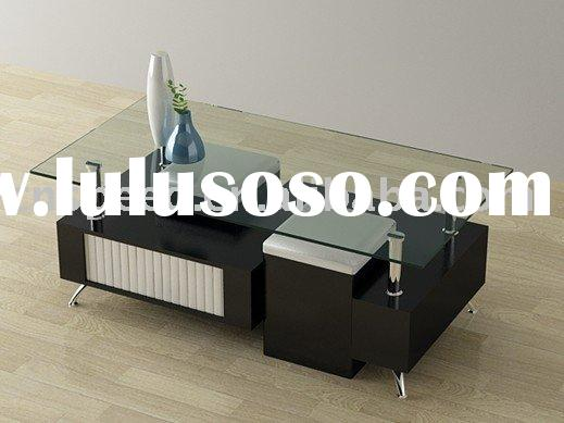 contemporary metal MDF glass coffee table